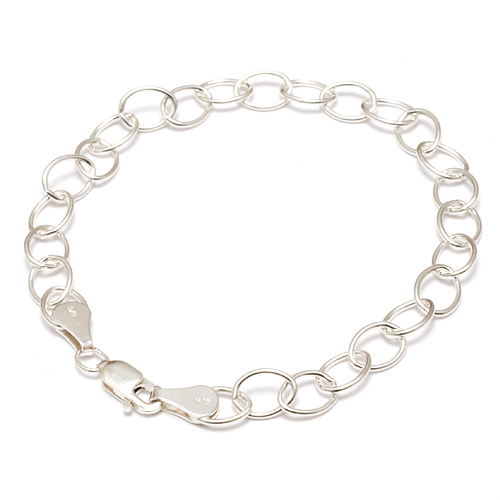 Chain & Clasps Sterling Silver Charm Chain Bracelet, 7.25""