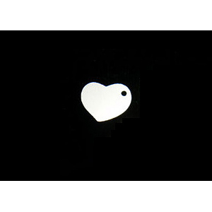 "Metal Stamping Blanks Sterling Silver Heart Tag with Hole, 10mm (.40"") x 8mm (.32""), 24g"