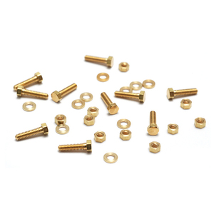 "Rivets and Findings  Mini Brass Hex Nuts, Washers and Bolts, 1/4"", 10 sets"