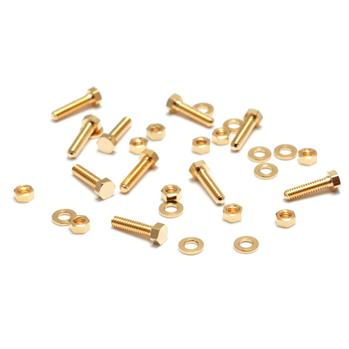"Rivets and Findings  Mini Gold Plated Hex Nuts, Washers & Bolts, 1/4"", 10 sets"