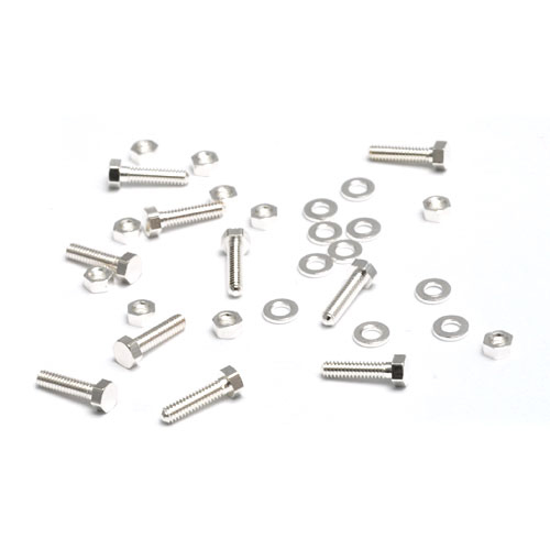 "Rivets,  Findings & Stringing Mini Silver Plated Hex Nuts, Washers & Bolts, 1/4"", 10 sets"