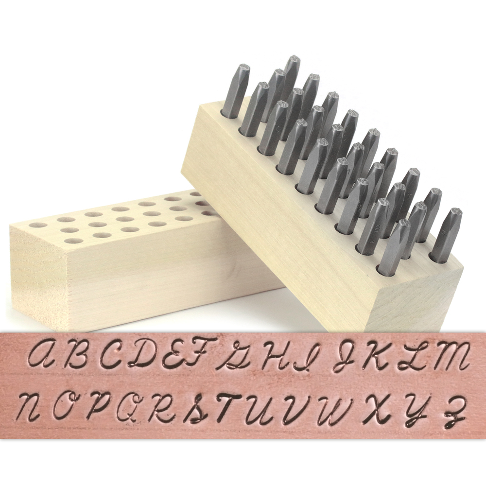 "Metal Stamping Tools Beaducation Script Uppercase Letter Stamp Set 1/8"" (3.2mm)"