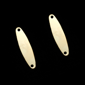 "Metal Stamping Blanks Gold Filled Oval with Holes, 23mm (.91"") x 6mm (.24""), 24g"