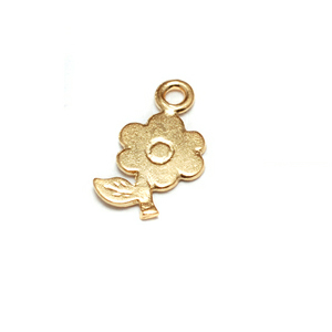 Charms & Solderable Accents Gold Filled Tiny Flower Charms with Stem