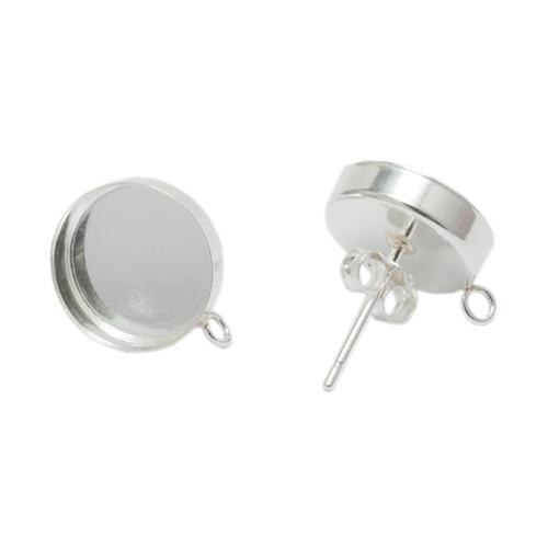 Enamel, Patina & Resin Sterling Silver 10mm Bezel Cup Earrings with Loop, 1 pair