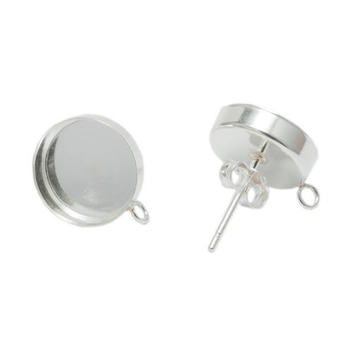Sterling Silver 10mm Bezel Cup Earrings with Loop, 1 pair