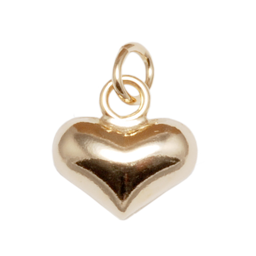 Charms & Solderable Accents Gold Filled Puffy Heart Charm