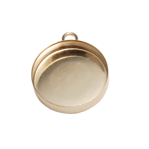 Enamel & Mixed Media Gold Filled 15mm Bezel Cup with Loop