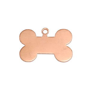 "Metal Stamping Blanks Copper Dog Bone with Top Loop, 20mm (.79"") x 13mm (.51""), 24g"