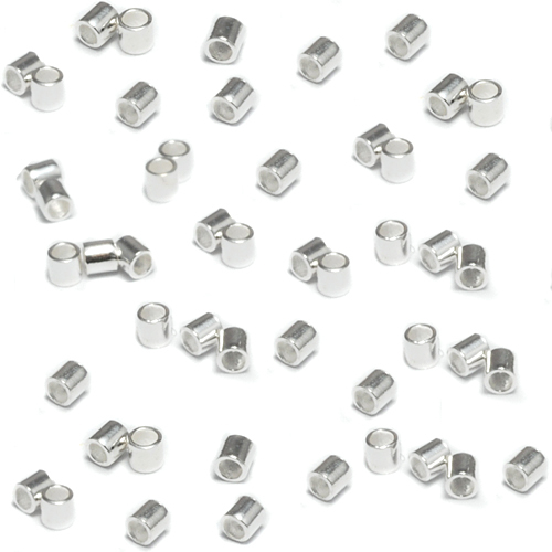 Rivets and Findings  Sterling Silver 2x2 Crimp Tubes, Pack of 50