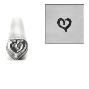 Metal Stamping Tools Stylized Heart Metal Design Stamp, 5mm