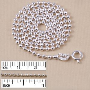 Chain & Clasps Sterling Silver Ball Chain, 2.0mm, 16""