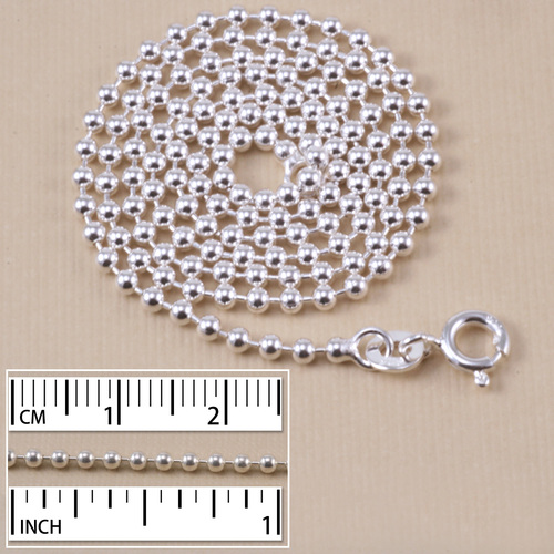 Chain & Jump Rings Sterling Silver Ball Chain, 2.0mm, 18""