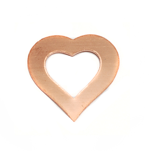 Metal Stamping Blanks Copper Small Heart Washer, 24g