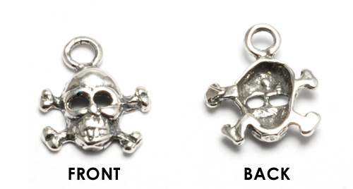 Charms & Solderable Accents Sterling Silver Small Skull and Crossbones Charm