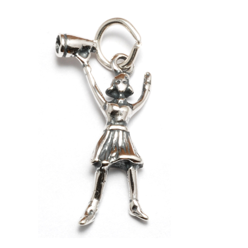 Charms & Solderable Accents Sterling Silver Cheerleader Charm