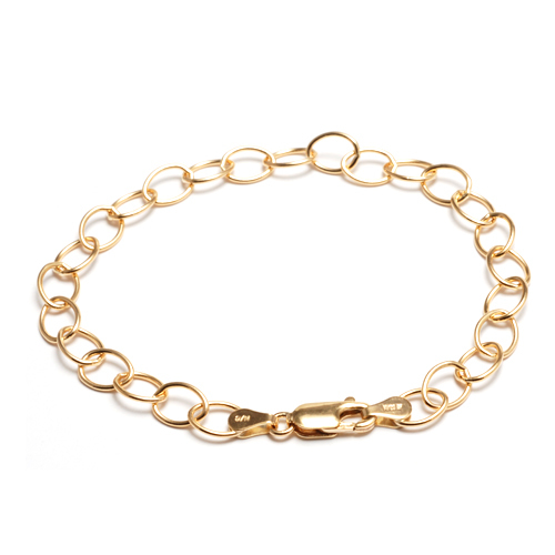 Chain & Clasps Gold Filled Charm Chain Bracelet, 7.25""