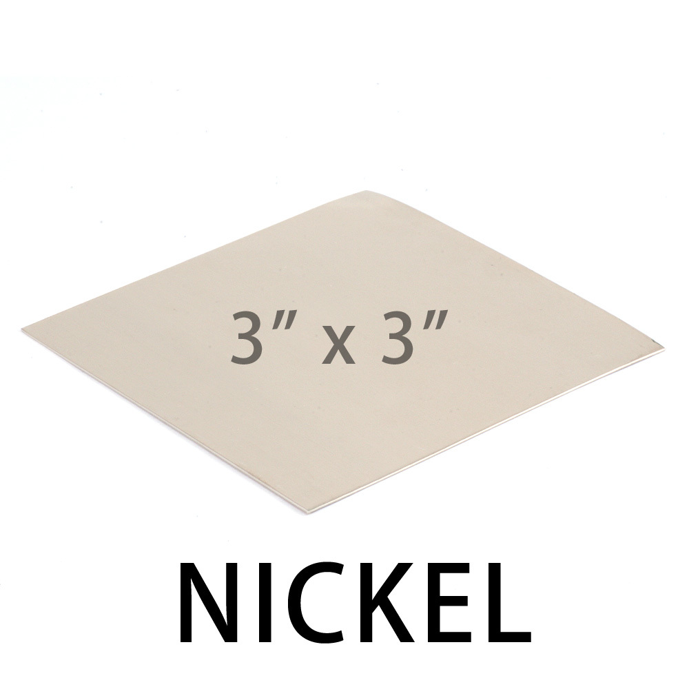 "Wire & Sheet Metal Nickel 20 gauge Sheet Metal, 3"" x 3"" piece"