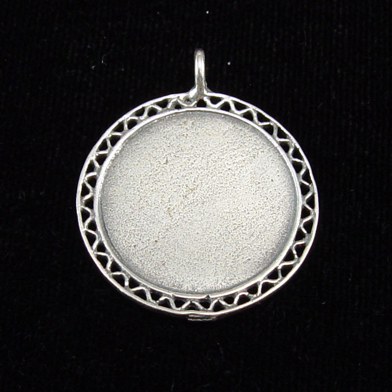 Metal Stamping Blanks Sterling Silver Filigree Edge Pendant, Large