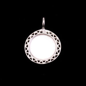 Metal Stamping Blanks Sterling Silver Filigree Edge Pendant, Medium