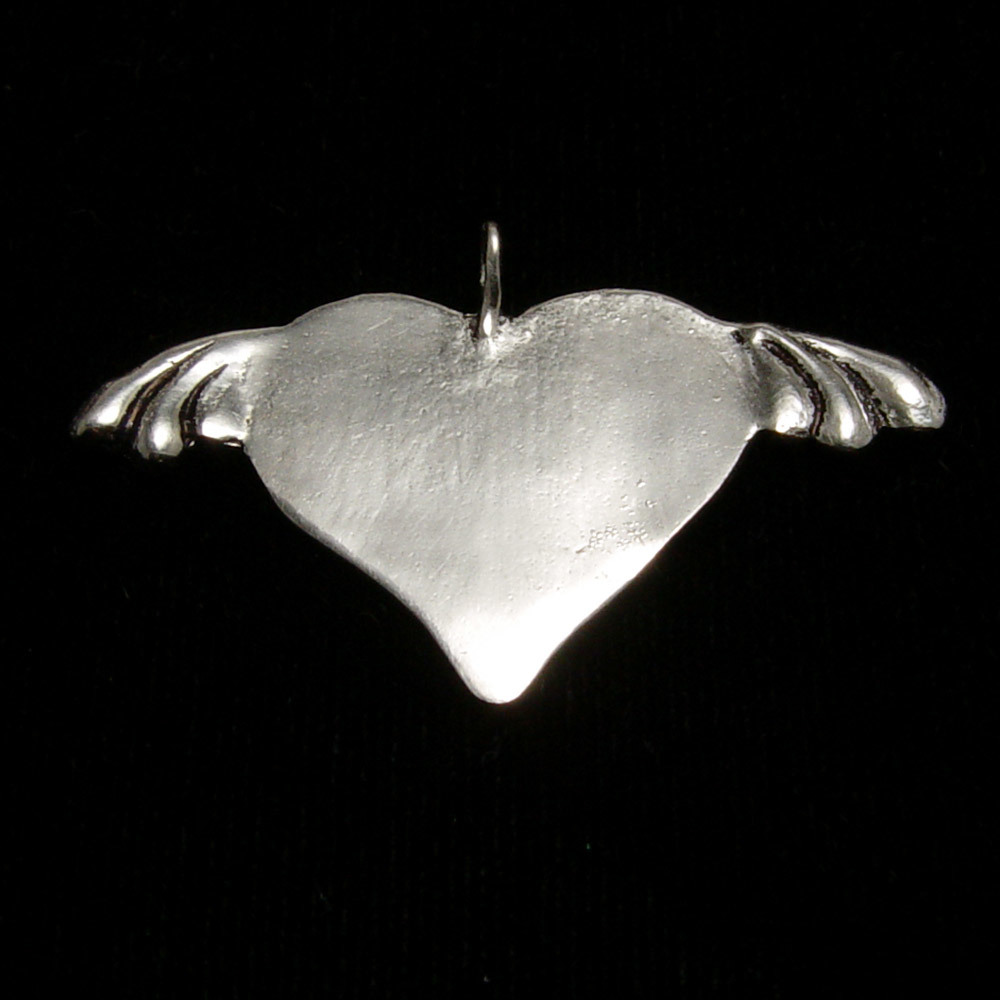 Metal Stamping Blanks Sterling Silver Heart with Wings Pendant