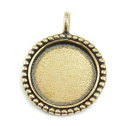 Metal Stamping Blanks Brass Circle with Dotted Edge, Medium