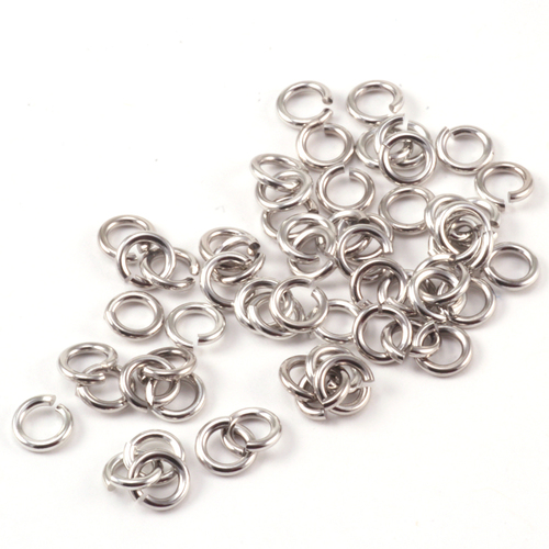 Chain & Jump Rings Rhodium Finish 3mm I.D. 18 Gauge Jump Rings, 5gm pack