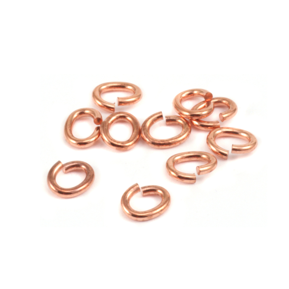 Jump Rings Copper 3.8mm x 6.2mm I.D. 18 Gauge Oval Jump Rings, Pk of 10