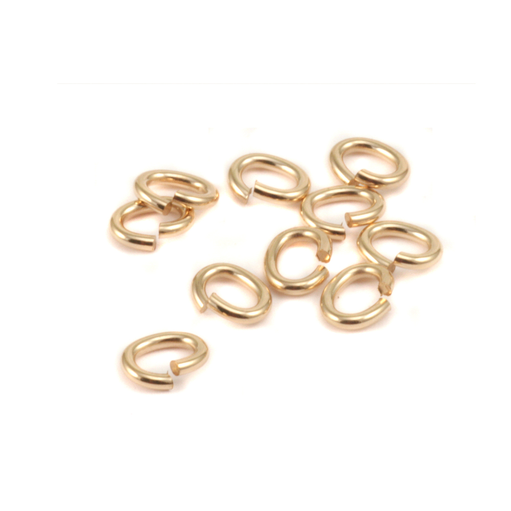 Jump Rings Gold Filled 3.8mm x 6.2mm I.D. 16 Gauge Oval Jump Rings, pk of 10