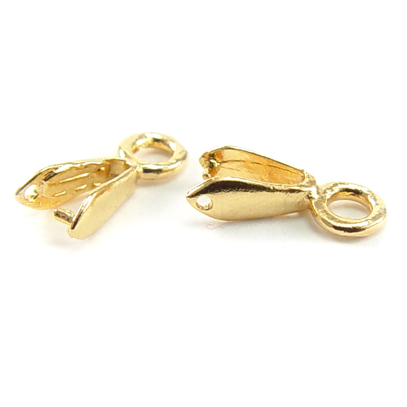 Rivets,  Findings & Stringing Gold Plated Plain Bail, Pack of 2