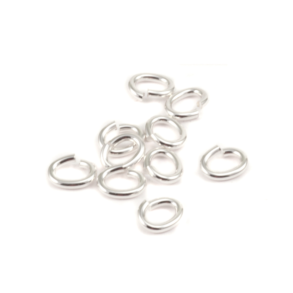 Jump Rings Sterling Silver 3.8mm x 6.2mm I.D. 18 Gauge Oval J.R., pk of 10