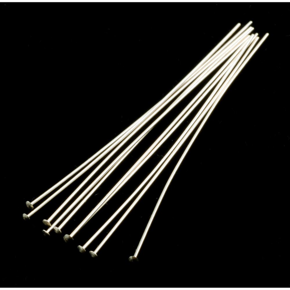 "Rivets,  Findings & Stringing Sterling Silver Head Pins 2"" (51.5mm), 24 gauge pack of 10"