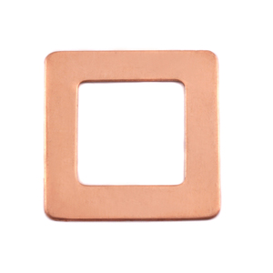 "Metal Stamping Blanks Copper Rounded Square Washer, 25mm (1"") with 16mm (.63"") ID, 24g"