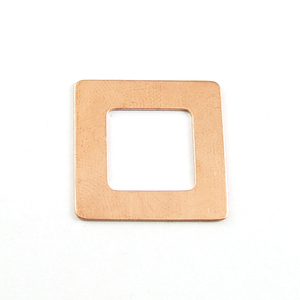 "Metal Stamping Blanks Copper Rounded Square Washer, 22mm (.87"") with 13mm (.51"") ID, 24g"