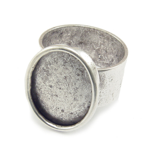 Enamel & Mixed Media Plated Silver Adjustable Ring w/Oval 18mm x 13mm Bezel