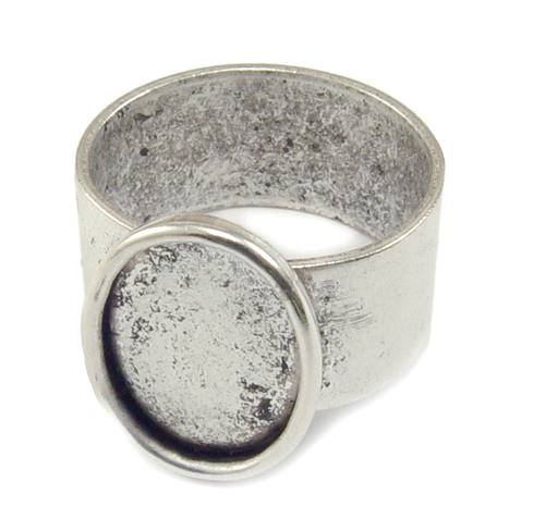 Enamel, Patina & Resin Plated Silver Adjustable Ring w/Oval 14mm x 10mm Bezel