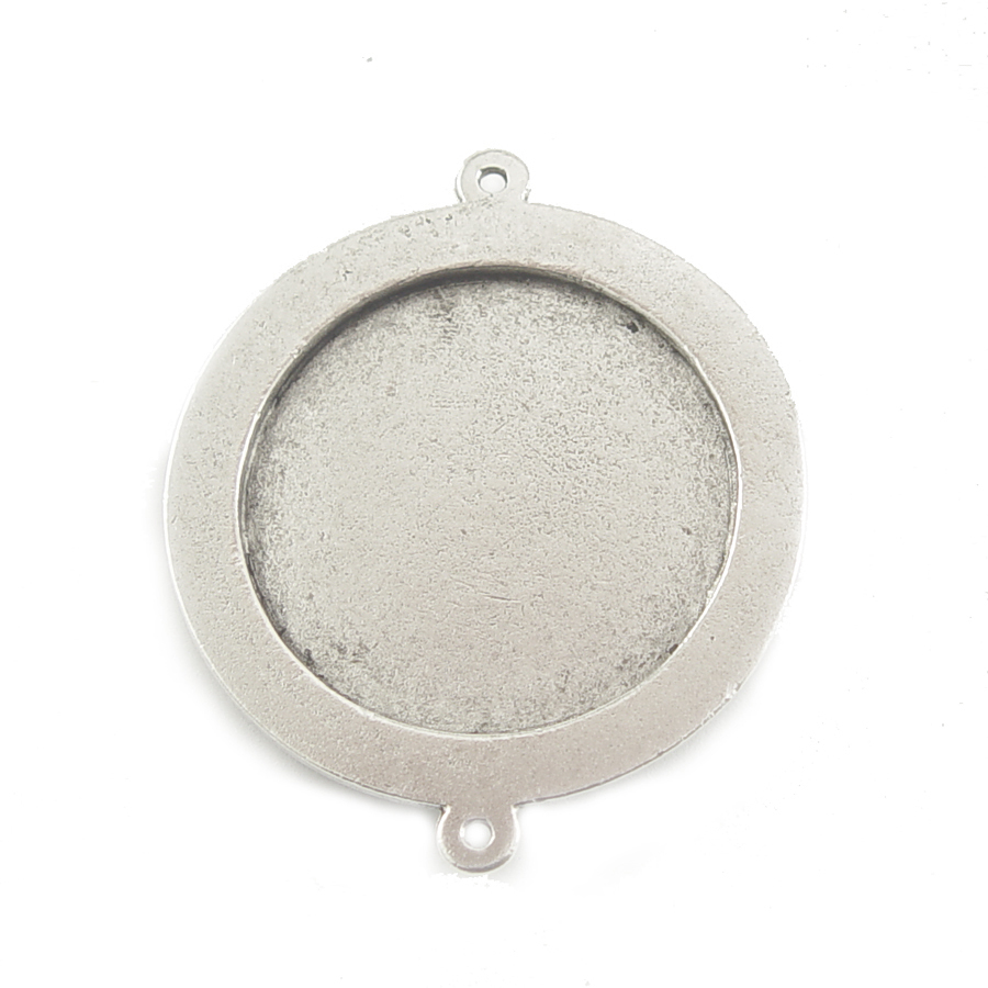 Plated Silver Large Round Bezel Link