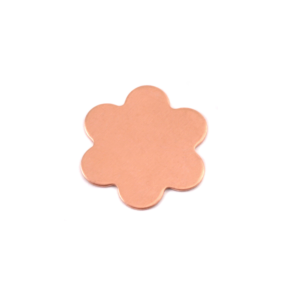 "Metal Stamping Blanks Copper Flower with 6 Petals, 17mm (.67""), 24g, Pk of 5"