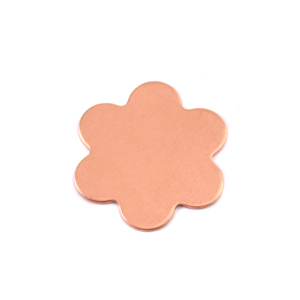 "Metal Stamping Blanks Copper Flower with 6 Petals, 19.5mm (.77""), 24g, Pack of 5"