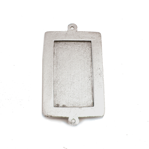 Enamel, Patina & Resin Plated Silver Large Rectangle Bezel Link