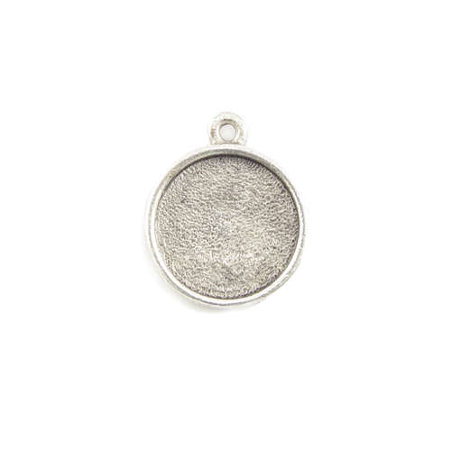 Enamel, Patina & Resin Plated Silver Round Designer Bezel Pendant,1/2 inch (13mm)