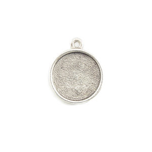 Enamel & Mixed Media Plated Silver Round Designer Bezel Pendant,1/2 inch (13mm)