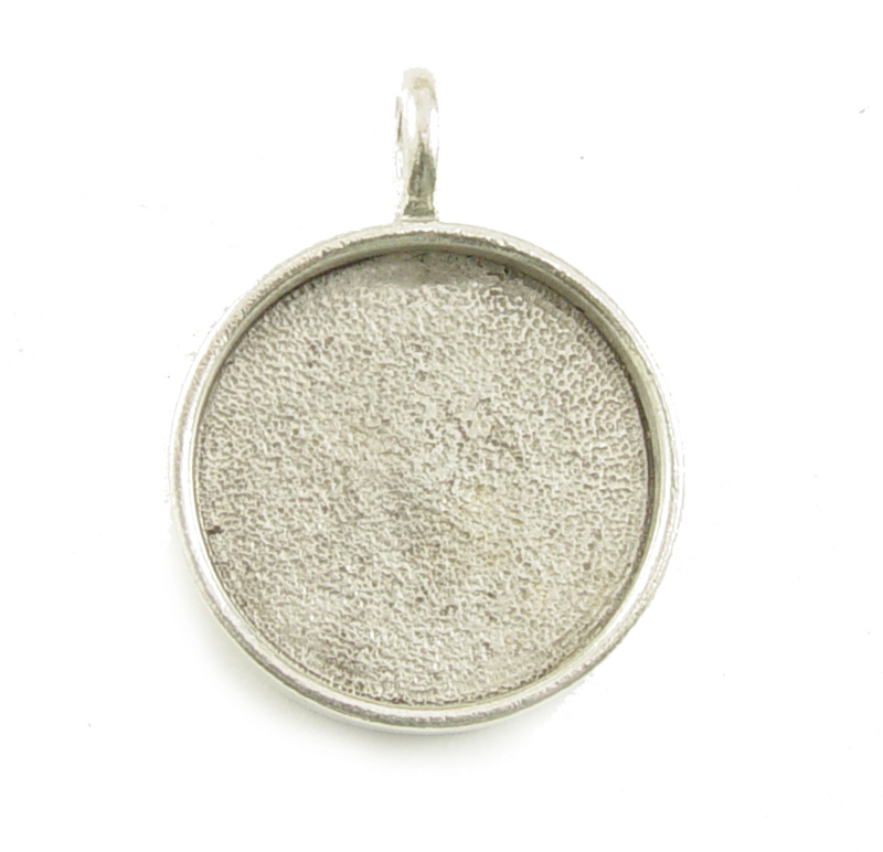 "Plated Silver Round Designer Bezel Pendant,13/16"" (21mm)"