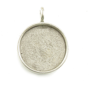 "Plated Silver Round Designer Bezel Pendant,13/16"" (21mm)"