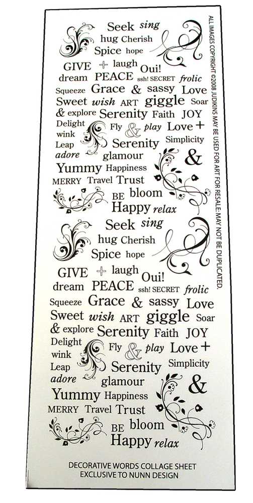 Decorative Words Transfer Sheet