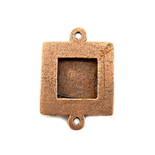 Enamel & Mixed Media Plated Copper Small Square Bezel Link