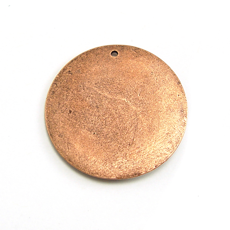 "Metal Stamping Blanks Copper Plated Pewter Circle with Hole, 31.5mm (1.25""), 18g"