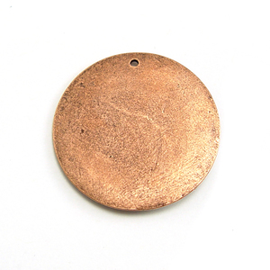 Metal Stamping Blanks Copper Plated Pewter Large Thick Circle with Single Hole