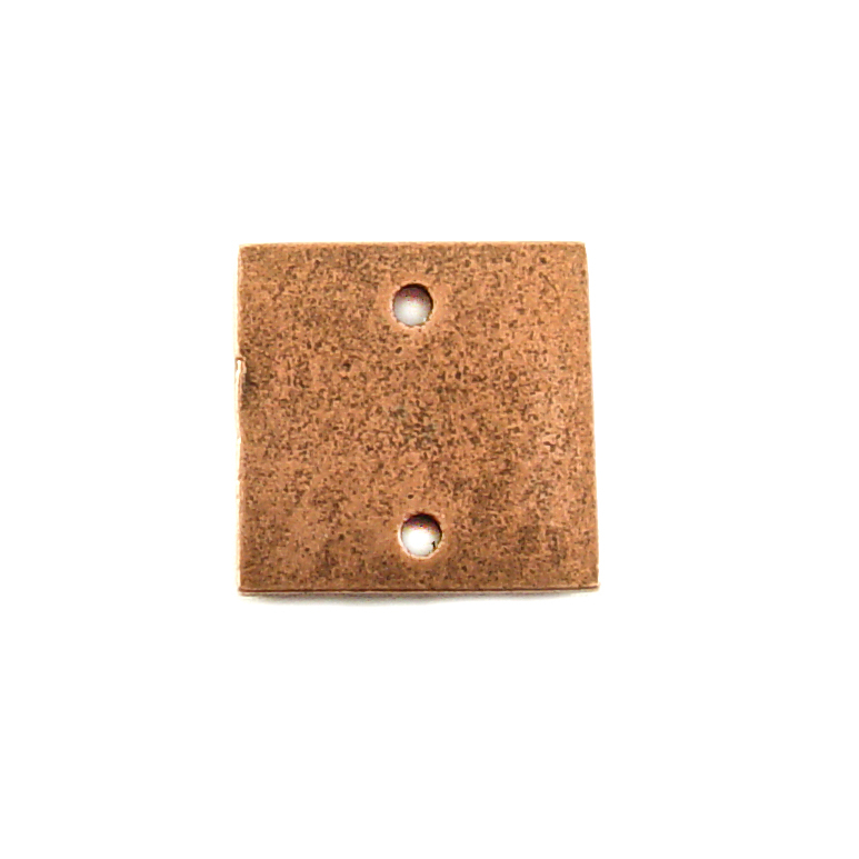 Metal Stamping Blanks Copper  Plated Pewter Small Thick Square with Two Holes