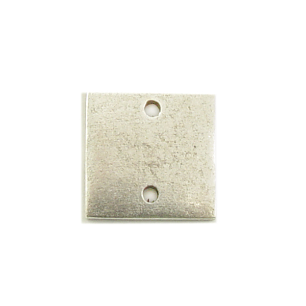 Metal Stamping Blanks Silver Plated Pewter Small Thick Square with Two Holes